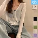 【V9272】shiny藍格子-夏日新作.純色V領長袖外搭短款防曬針織衫