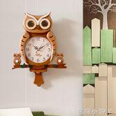 掛鐘創意卡通兒童房鐘表貓頭鷹個性家居木質壁掛裝飾時鐘可愛掛表 NMS蘿莉小腳丫