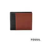 FOSSIL WARD 真皮帶翻轉證件格RFID男夾-黑色X咖啡色 ML4165001