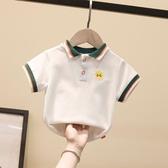 兒童t恤男童polo衫短袖中小童白色體恤洋氣男寶翻領男寶寶夏裝薄 小艾時尚