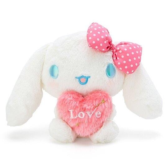 〔小禮堂〕大耳狗 絨毛玩偶娃娃《S.白粉.抱愛心》擺飾.玩具 4548643-13931