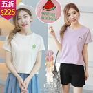 【五折價$225】糖罐子多款水果英字刺繡造型純色短袖上衣→預購【E58047】