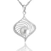 項鍊 925純銀 珍珠吊墜-璀璨鑲鑽生日聖誕節交換禮物女飾品73dh10[時尚巴黎]