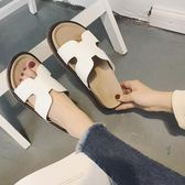 拖鞋/涼鞋  涼拖女外穿韓版平底百搭厚底松糕一字拖沙灘鞋