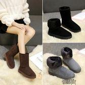 雪地靴女秋冬面包鞋短筒情侶款加絨加厚防滑中筒靴棉鞋潮【街頭布衣】