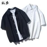 夏季日繫簡約白色短袖襯衣 男潮流休閒寬鬆五分袖襯衫潮 超值價