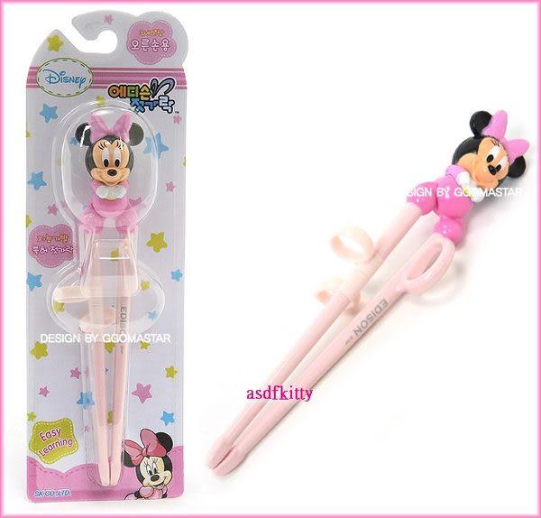 嬰童用品【asdfkitty可愛家】米妮寶寶版右手用三點式兒童學習筷-前端加大好夾取-韓國製