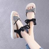 涼鞋女潮夏季厚底綁帶鞋子女時尚仙女風松糕涼鞋-Milano米蘭