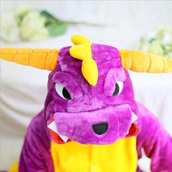 紫恐龍情侶裝 演出服裝 休閒服 居家服 情侶睡衣卡通動物連體睡衣派對角色扮演服 親子裝 現+預