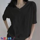 短袖T恤 素色T恤ins超火v領短袖t恤女2021新款純色內搭打底衫半袖寬鬆純棉上衣服【寶貝 上新】