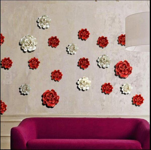 立體壁飾牆貼花朵 歐式陶瓷牆面裝飾創意電視背景牆婚慶壁掛【陶瓷花中號紅色】