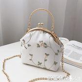 復古蕾絲口金包布藝手工立體刺繡花朵手提包配旗袍包包女士小包包『快速出貨』