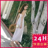 梨卡★現貨 - 天使浪漫沙灘海邊度假飄逸蕾絲連身長褲C6251