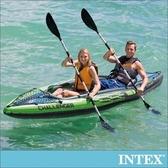 INTEX挑戰者K2-雙人運動獨木舟(附雙漿+手壓幫浦)(68306)