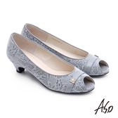A.S.O 優雅美型 絨面真皮水鑽飾扣魚口低跟鞋  淺灰