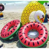 游泳圈 2018新款菠蘿泳圈成人加厚加大游泳圈充氣座椅充氣浮派水果西瓜圈