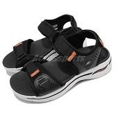 Skechers 涼鞋 Go Walk Arch Fit Sandal 男鞋 黑 白 橘 魔鬼氈 涼拖鞋 【ACS】 229020BKOR