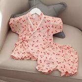 兒童睡衣中小女童夏薄紗布短袖套家居服和服親子裝母女裝【快速出貨限時八折】