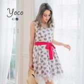 東京著衣【YOCO】時尚甜采附綁帶蕾絲印花洋裝-S.M.L(170651)