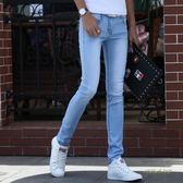 青少年夏季薄款牛仔褲男士彈力修身小腳韓版潮流學生緊身褲子「時尚彩虹屋」
