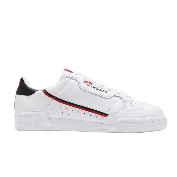 adidas 休閒鞋 Continental 80 白 紅 黑 愛心 情人節 男鞋 女鞋 小白鞋【ACS】 FZ1818