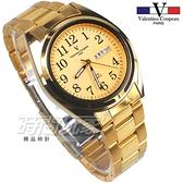 valentino coupeau 范倫鐵諾 都會風格 日期 星期 顯示窗 不鏽鋼 防水手錶 男錶 金色 石英錶 V62188S金字
