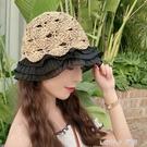 草帽女夏季手工編織荷葉邊蕾絲鏤空漁夫帽子沙灘遮陽防曬花邊帽潮 樂活生活館