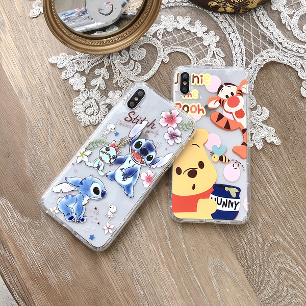 【SZ14】小熊維尼史迪奇氣墊防摔殼 samsung S9 plus手機殼 S9 S10 plus A8s A7 A9 2018手機殼note8/9保護殼