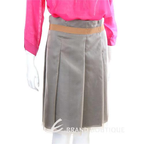 SCHUMACHER 灰綠色紗質抓褶及膝裙 1120126-A1
