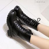 中筒靴秋冬女鞋繫帶加絨短靴平跟中筒靴馬丁靴英倫男女軍靴平底cos靴子 奈斯女裝