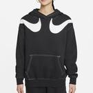 Nike SPORTSWEAR SWOOSH 女裝 連帽 長袖 休閒 落肩 雙勾 刷毛 黑【運動世界】DD5581-010