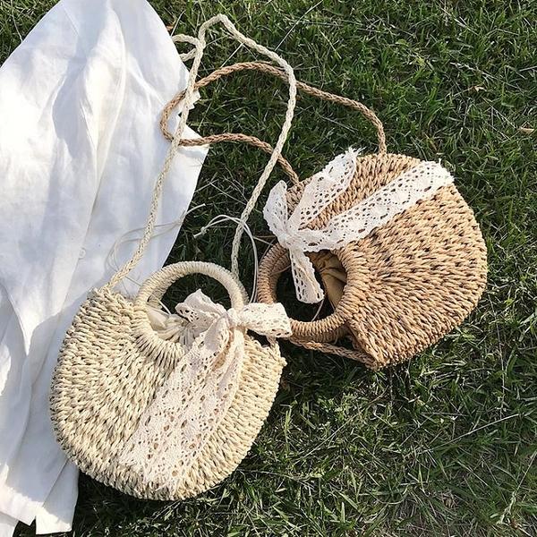 編織包女草編包包2021新款潮沙灘側背斜背包女百搭ins夏天手提包 雙11 伊蘿