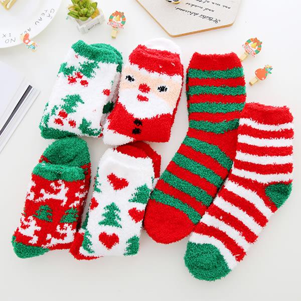 【BlueCat】聖誕節紅綠白三色珊瑚絨保暖襪