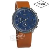FOSSIL / FS5486 / 都會魅力 礦石強化玻璃 計時功能 日期 日本機芯 真皮手錶 藍x灰框x咖啡 42mm