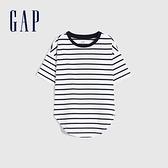 Gap女童 純棉質感厚磅短袖T恤 728128-海軍藍條紋