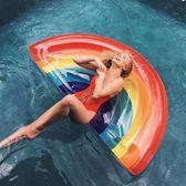 浮排 新款彩虹充氣浮床游泳圈加厚成人兒童坐騎玩具海灘泳池水上氣墊床 創想數位DF