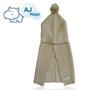 AJ Hippo 小河馬 披風帽圍 2-6歲 米色