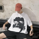 短袖T恤潮嘻哈潮牌潮流五分袖衣服韓版情侶寬鬆【左岸男裝】