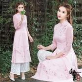 兩件套漢服女款復古文藝立領旗袍繡花連身裙 百搭蕾絲闊腿褲潮套 降價兩天