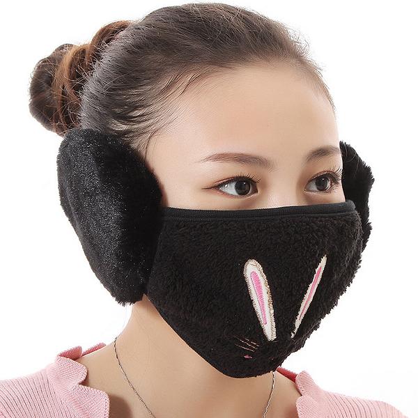 【獨愛3C用品】【買三送一】冬季必備保暖卡通造型兔兔絨毛防塵口罩耳罩二合一(編號12/黑色)