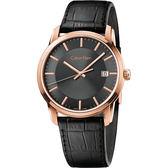 Calvin Klein CK Infinity 都會簡約腕錶-黑x玫瑰金框/42mm K5S316C3