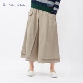 a la sha 熊熊兩片式開衩寬版褲裙