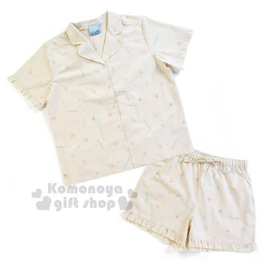 〔小禮堂〕大耳狗 短袖居家服套裝《白.冰淇淋.滿版》襯衫式.睡衣.甜蜜夢境系列 4901610-03804