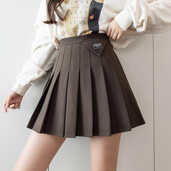 VK旗艦店 韓國風毛呢百褶裙學院風高腰短裙