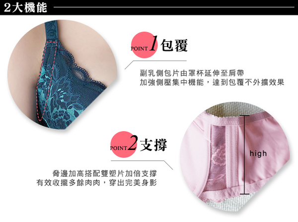 EASY SHOP-漫花語調 大罩杯B-E罩內衣(孔雀藍)