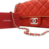 Chanel Flap Bags 鑲邊翻蓋包  橘色 全新品