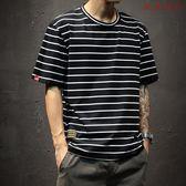 男士T恤圓領海魂寬鬆大碼條紋衫