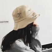 帽子女秋冬麂皮絨漁夫帽日繫文藝刺繡盆帽韓國百搭字母遮陽帽 交換禮物
