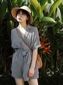 VK旗艦店 韓系復古顯瘦西裝領格子連身褲套裝短袖褲裝