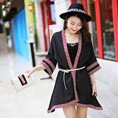 夏季女海邊度假防曬披肩民族風刺繡雪紡 LQ5269『小美日記』